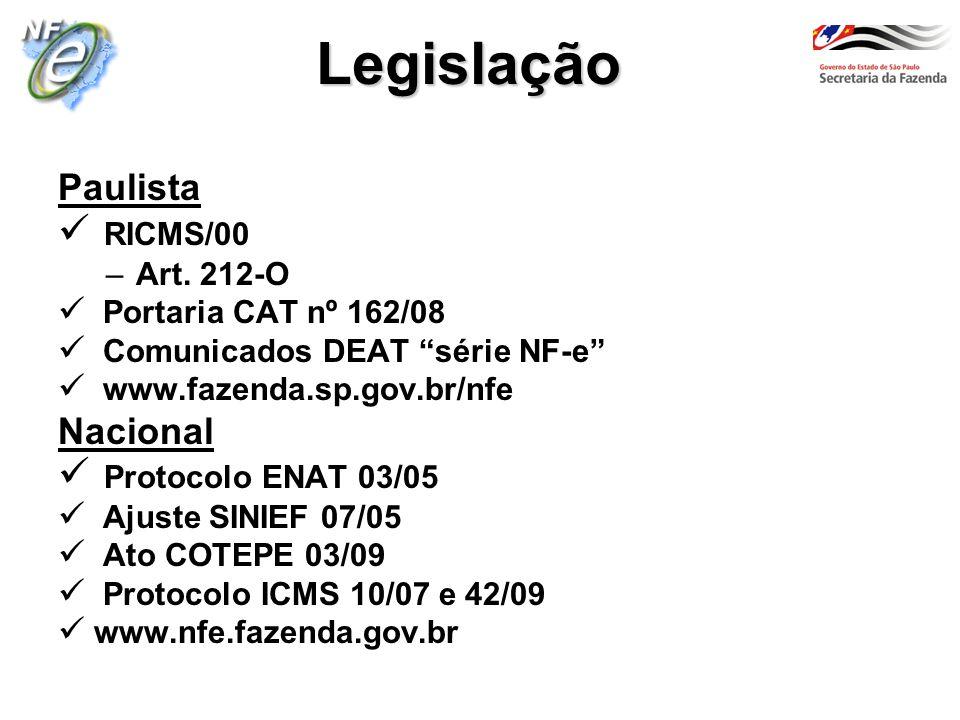 Legislação Paulista RICMS/00 –Art. 212-O Portaria CAT nº 162/08 Comunicados DEAT série NF-e www.fazenda.sp.gov.br/nfe Nacional Protocolo ENAT 03/05 Aj