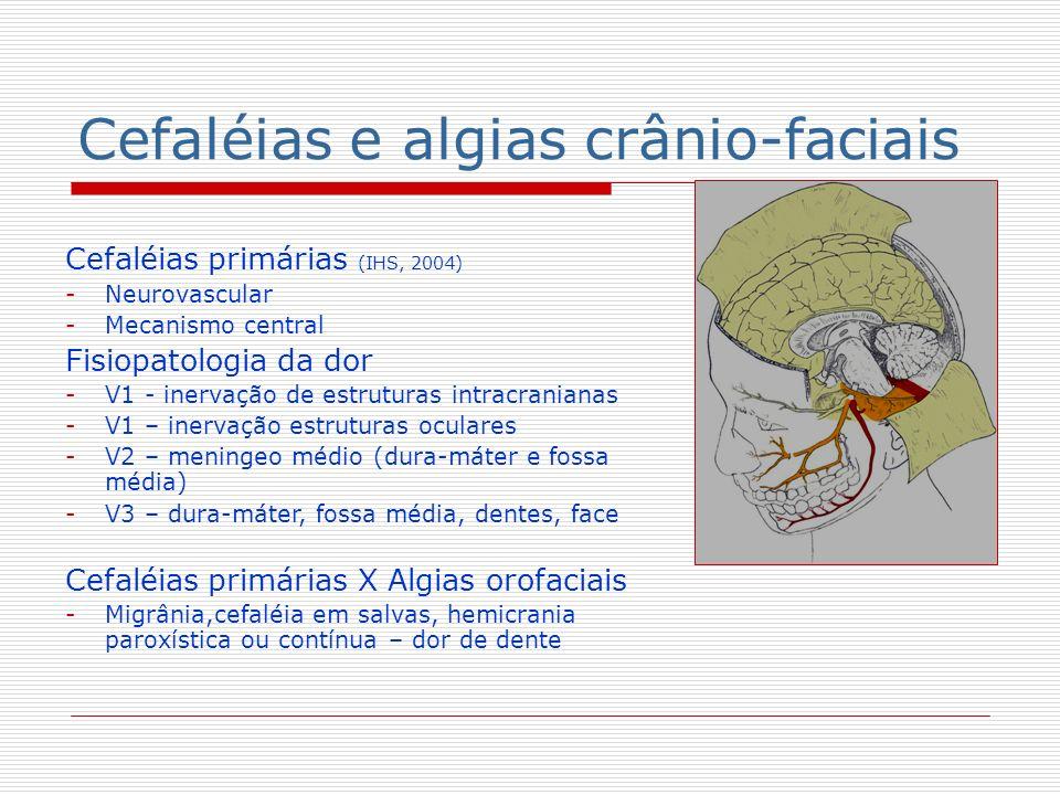 Cefaléias e algias crânio-faciais Cefaléias primárias (IHS, 2004) -Neurovascular -Mecanismo central Fisiopatologia da dor -V1 - inervação de estrutura