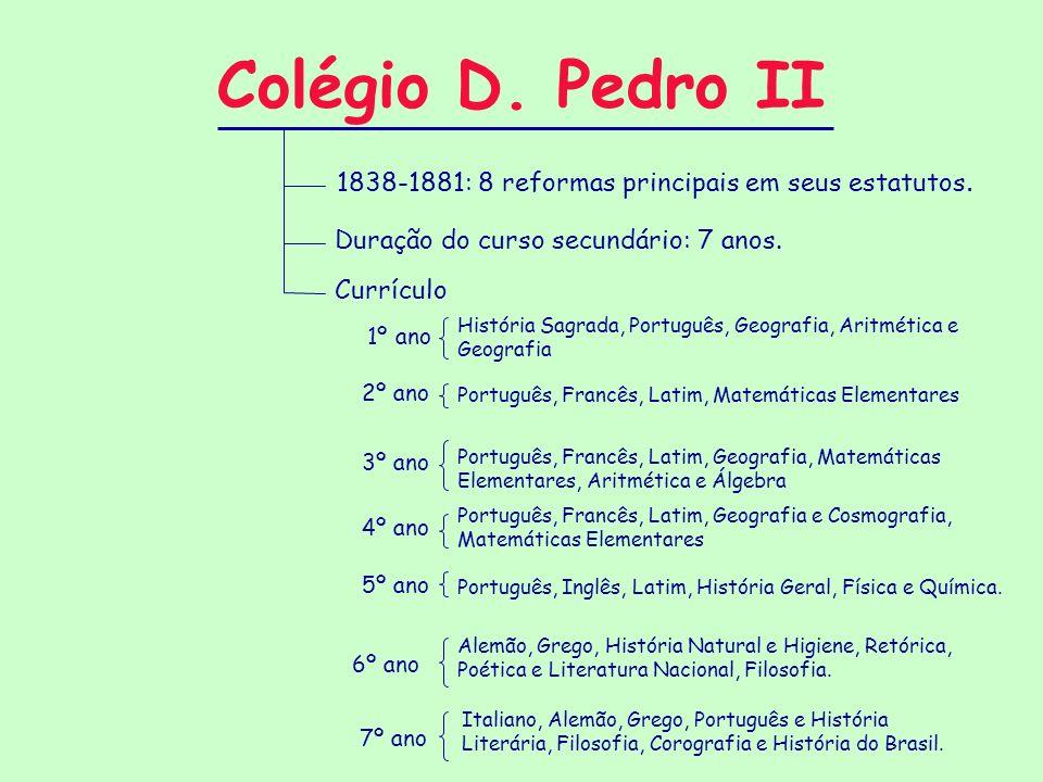 Colégio D. Pedro II Duração do curso secundário: 7 anos. 1838-1881: 8 reformas principais em seus estatutos. Currículo 1º ano 2º ano 3º ano 4º ano 5º