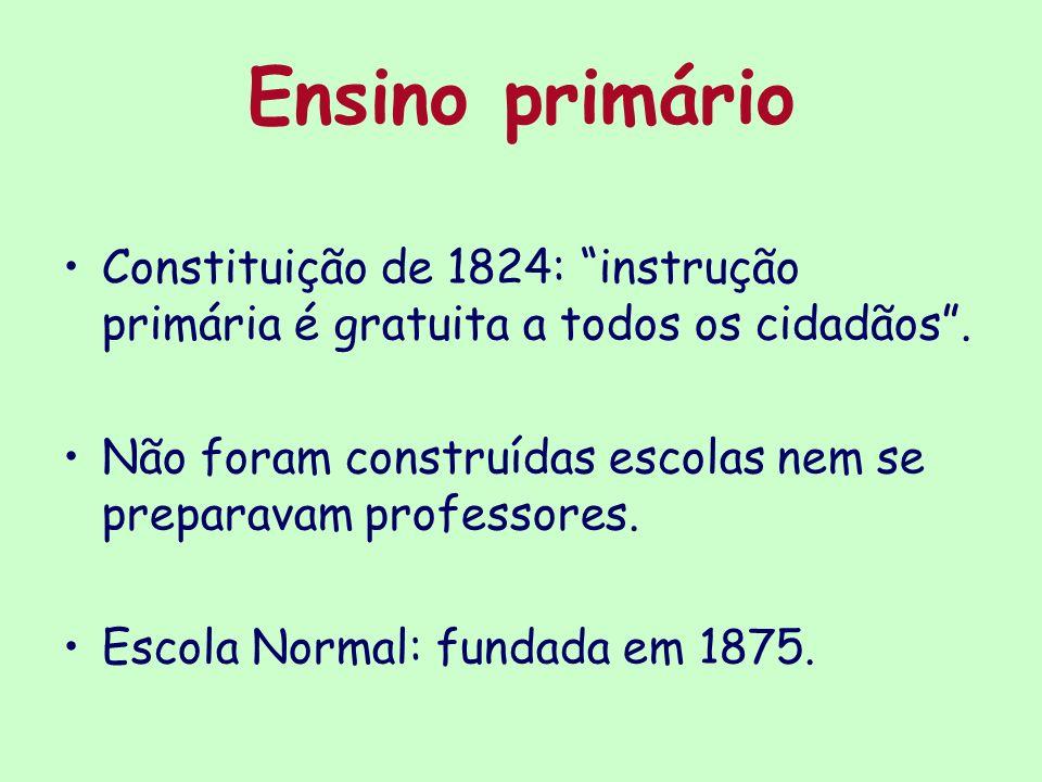 Ensino primário Constituição de 1824: instrução primária é gratuita a todos os cidadãos. Não foram construídas escolas nem se preparavam professores.