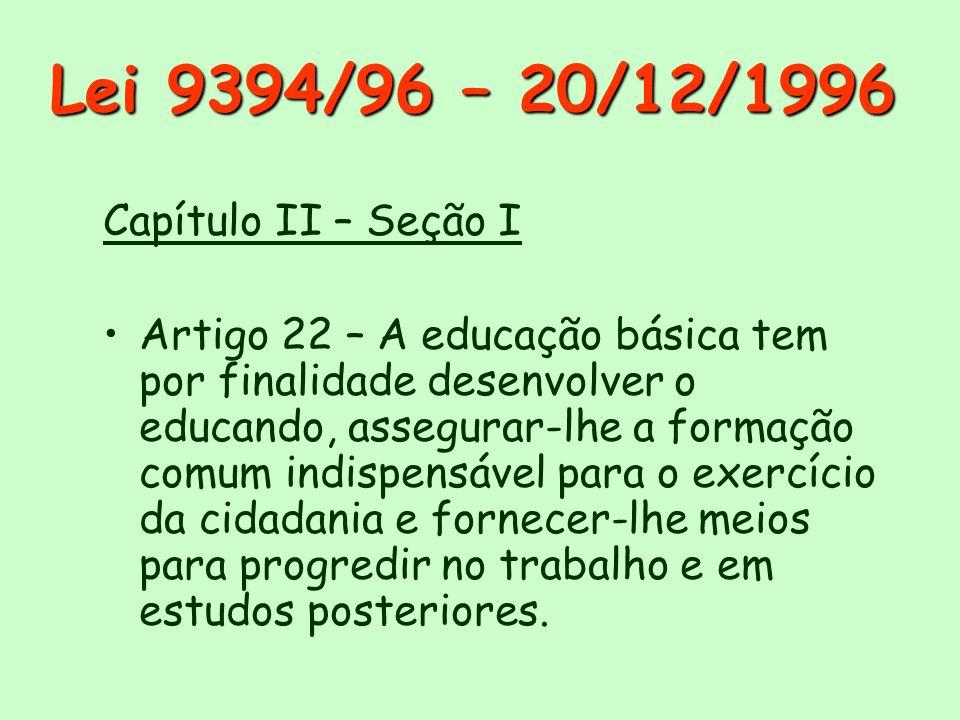 Lei 9394/96 – 20/12/1996 Capítulo II – Seção I Artigo 22 – A educação básica tem por finalidade desenvolver o educando, assegurar-lhe a formação comum