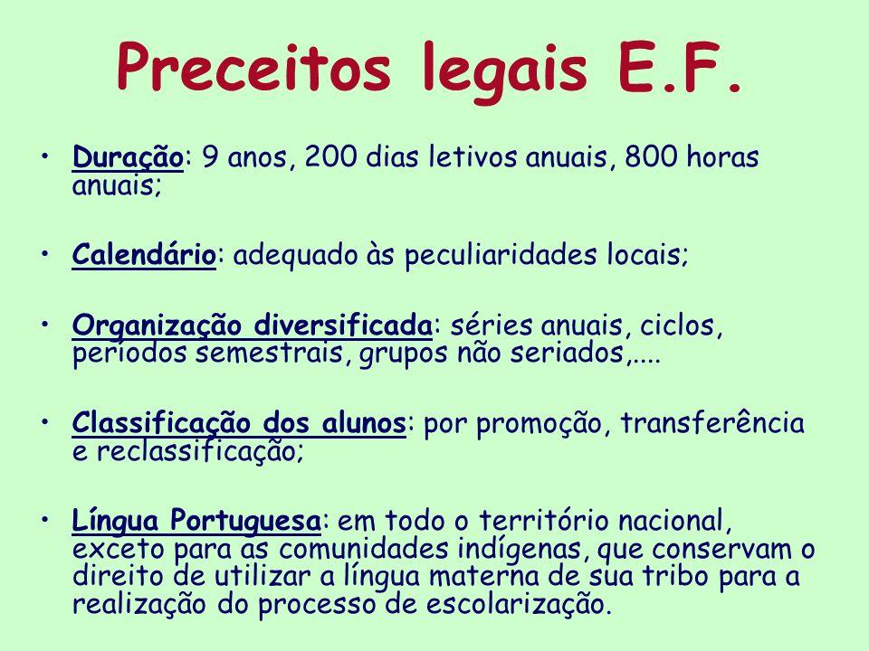 Preceitos legais E.F. Duração: 9 anos, 200 dias letivos anuais, 800 horas anuais; Calendário: adequado às peculiaridades locais; Organização diversifi