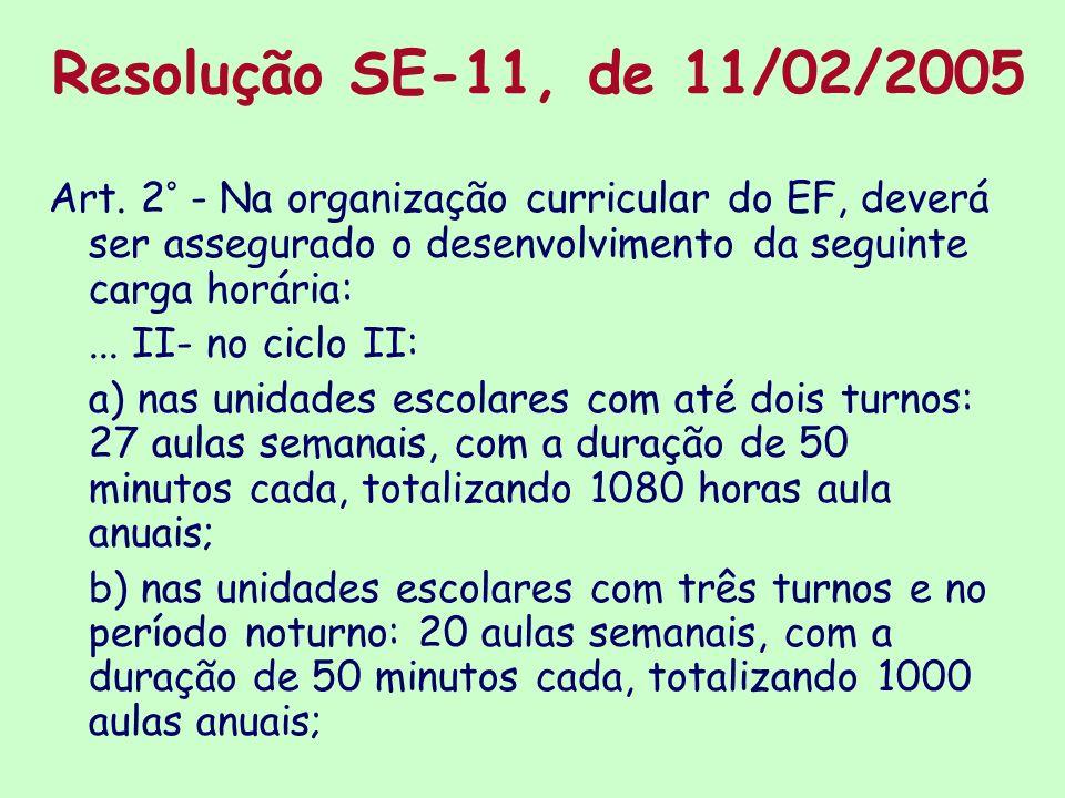 Resolução SE-11, de 11/02/2005 Art. 2° - Na organização curricular do EF, deverá ser assegurado o desenvolvimento da seguinte carga horária:... II- no
