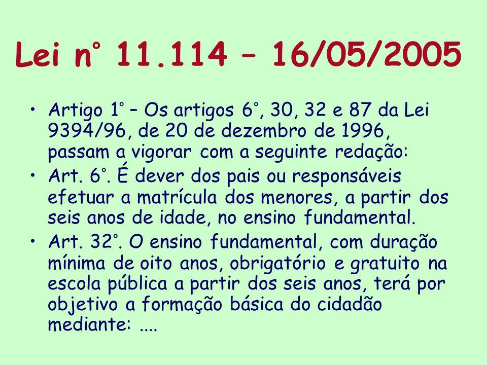Lei n° 11.114 – 16/05/2005 Artigo 1° – Os artigos 6°, 30, 32 e 87 da Lei 9394/96, de 20 de dezembro de 1996, passam a vigorar com a seguinte redação: