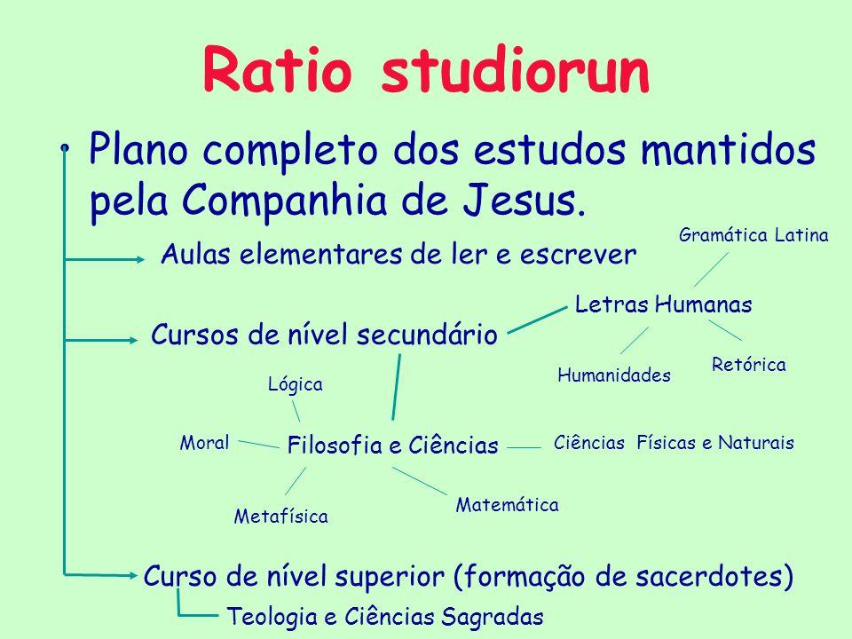 Ratio studiorun Plano completo dos estudos mantidos pela Companhia de Jesus. Aulas elementares de ler e escrever Cursos de nível secundário Letras Hum