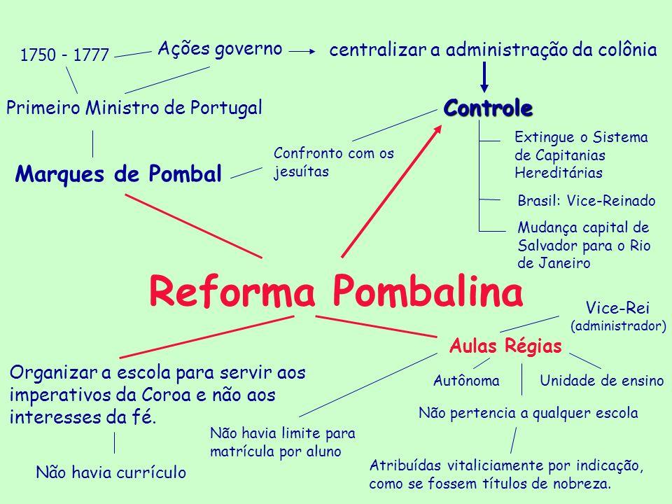 Reforma Pombalina Marques de Pombal Ações governo Primeiro Ministro de Portugal centralizar a administração da colônia 1750 - 1777 Controle Extingue o