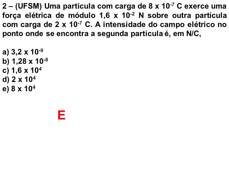 2 – (UFSM) Uma partícula com carga de 8 x 10 -7 C exerce uma força elétrica de módulo 1,6 x 10 -2 N sobre outra partícula com carga de 2 x 10 -7 C. A