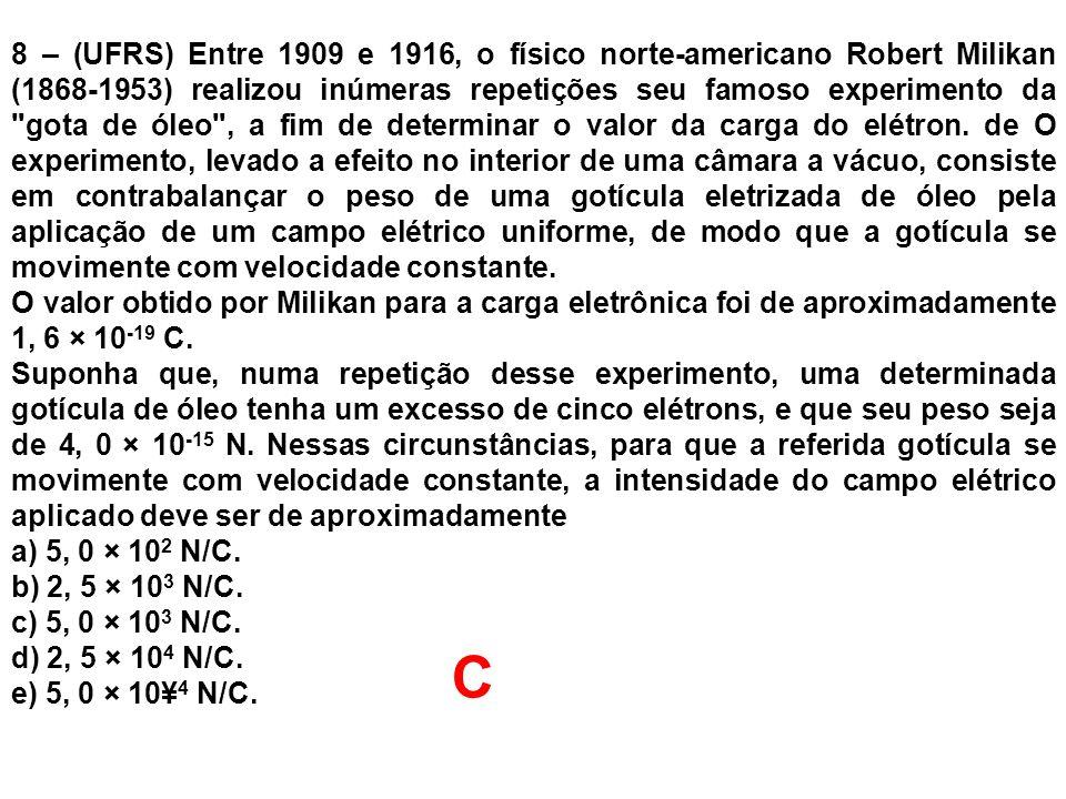 8 – (UFRS) Entre 1909 e 1916, o físico norte-americano Robert Milikan (1868-1953) realizou inúmeras repetições seu famoso experimento da