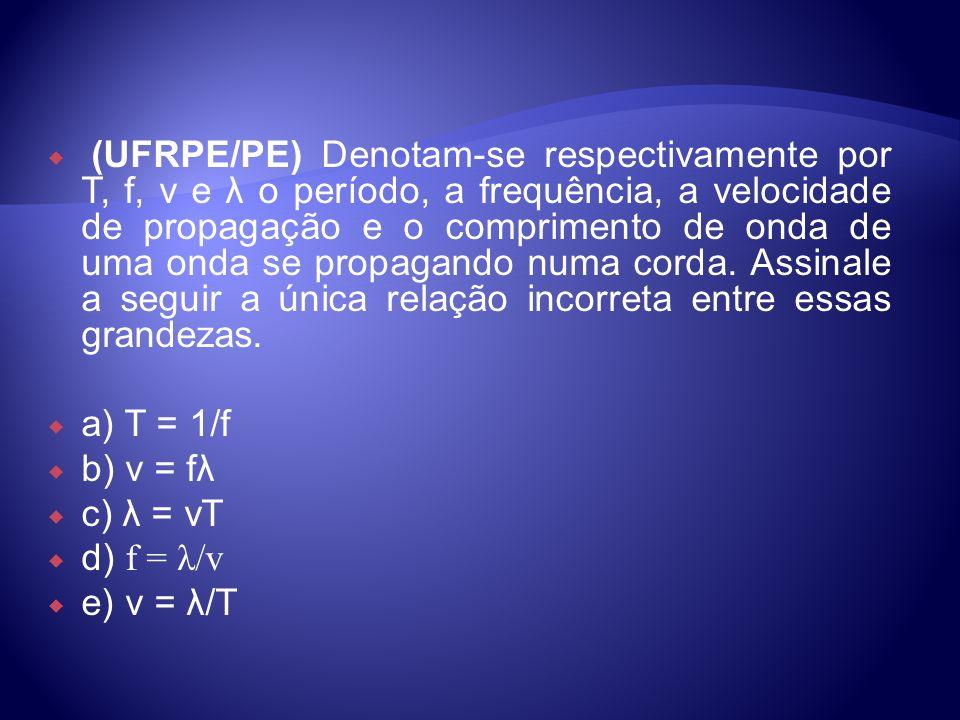 (UFRPE/PE) Denotam-se respectivamente por T, f, v e λ o período, a frequência, a velocidade de propagação e o comprimento de onda de uma onda se propa
