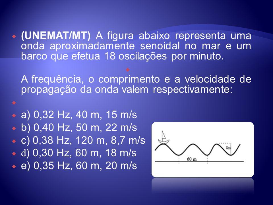 (UNEMAT/MT) A figura abaixo representa uma onda aproximadamente senoidal no mar e um barco que efetua 18 oscilações por minuto. A frequência, o compri