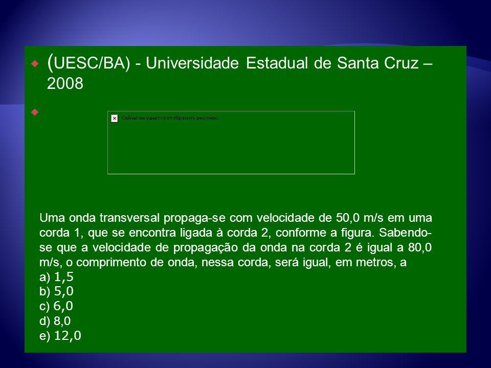 ( UESC/BA) - Universidade Estadual de Santa Cruz – 2008 Uma onda transversal propaga-se com velocidade de 50,0 m/s em uma corda 1, que se encontra lig