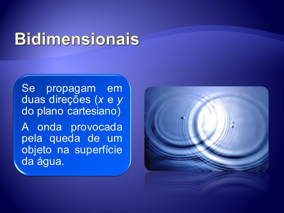 Se propagam em todas as direções possíveis. Ex: ondas sonoras, a luz, etc.