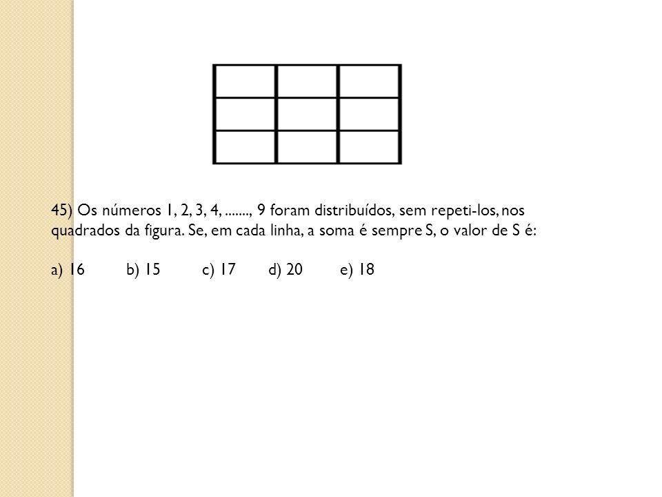 45) Os números 1, 2, 3, 4,......., 9 foram distribuídos, sem repeti-los, nos quadrados da figura. Se, em cada linha, a soma é sempre S, o valor de S é