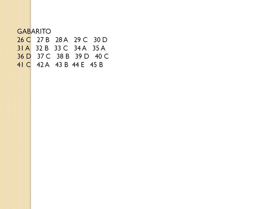 GABARITO 26 C 27 B 28 A 29 C 30 D 31 A 32 B 33 C 34 A 35 A 36 D 37 C 38 B 39 D 40 C 41 C 42 A 43 B 44 E 45 B