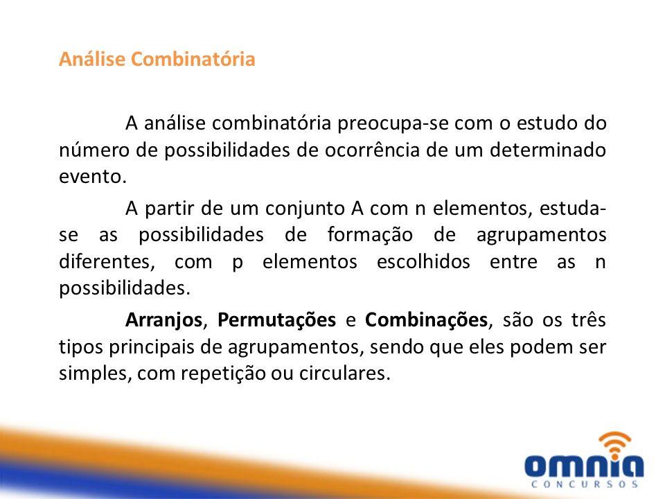 Análise Combinatória A análise combinatória preocupa-se com o estudo do número de possibilidades de ocorrência de um determinado evento. A partir de u
