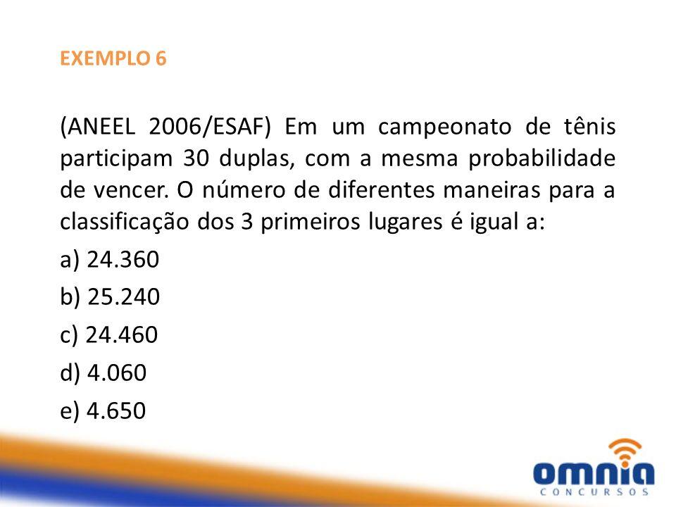 EXEMPLO 6 (ANEEL 2006/ESAF) Em um campeonato de tênis participam 30 duplas, com a mesma probabilidade de vencer. O número de diferentes maneiras para