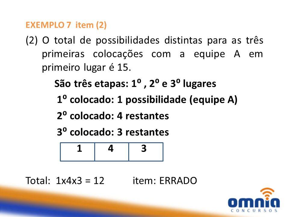 EXEMPLO 7 item (2) (2) O total de possibilidades distintas para as três primeiras colocações com a equipe A em primeiro lugar é 15. São três etapas: 1