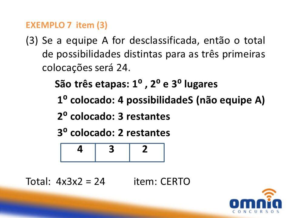 EXEMPLO 7 item (3) (3) Se a equipe A for desclassificada, então o total de possibilidades distintas para as três primeiras colocações será 24. São trê