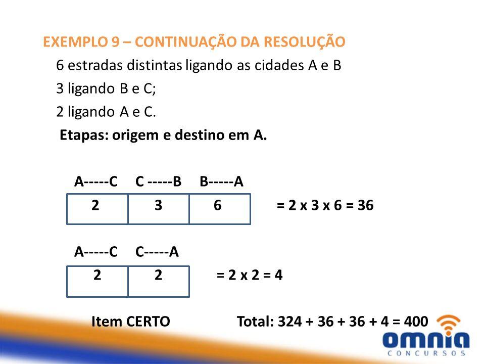 EXEMPLO 9 – CONTINUAÇÃO DA RESOLUÇÃO 6 estradas distintas ligando as cidades A e B 3 ligando B e C; 2 ligando A e C. Etapas: origem e destino em A. A-