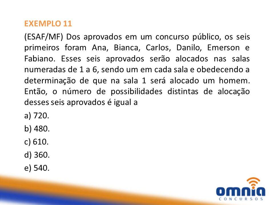 EXEMPLO 11 (ESAF/MF) Dos aprovados em um concurso público, os seis primeiros foram Ana, Bianca, Carlos, Danilo, Emerson e Fabiano. Esses seis aprovado