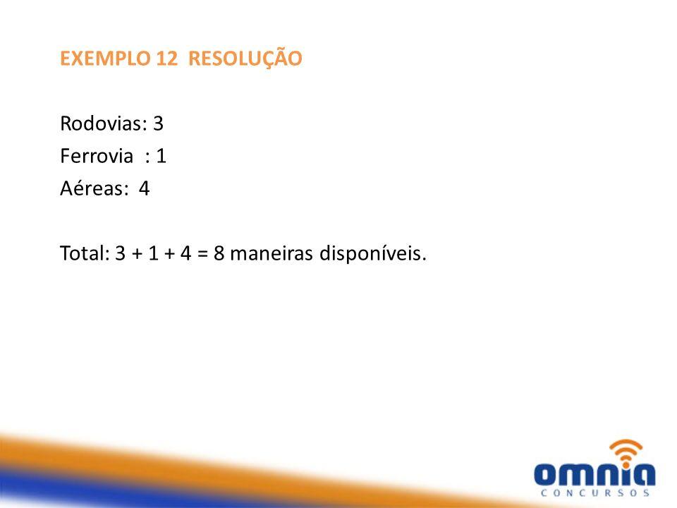 EXEMPLO 12 RESOLUÇÃO Rodovias: 3 Ferrovia : 1 Aéreas: 4 Total: 3 + 1 + 4 = 8 maneiras disponíveis.