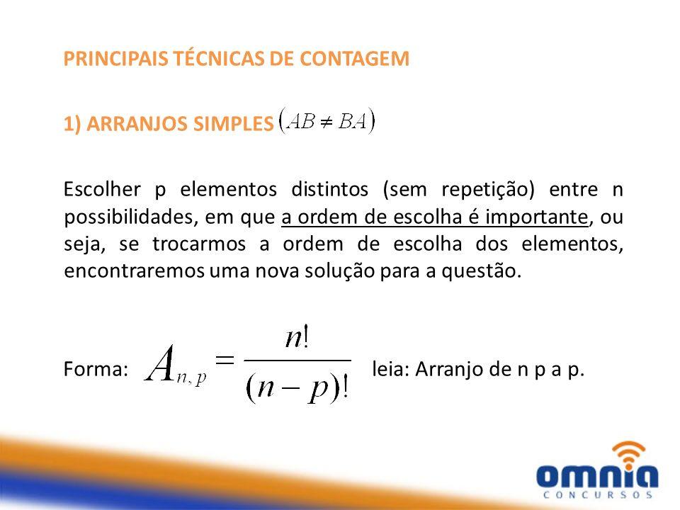 PRINCIPAIS TÉCNICAS DE CONTAGEM 1) ARRANJOS SIMPLES Escolher p elementos distintos (sem repetição) entre n possibilidades, em que a ordem de escolha é