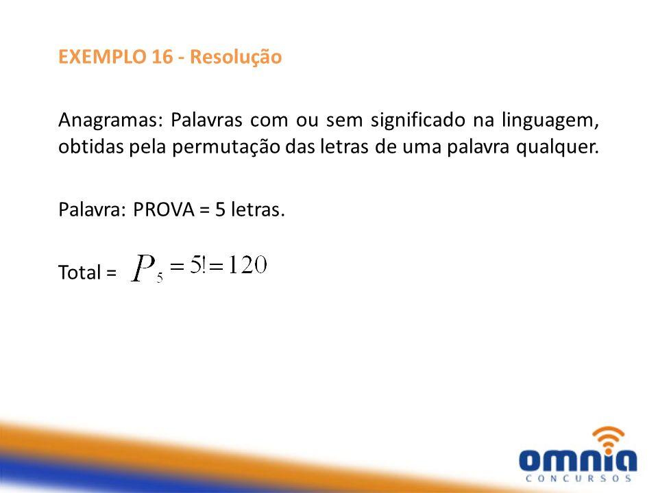 EXEMPLO 16 - Resolução Anagramas: Palavras com ou sem significado na linguagem, obtidas pela permutação das letras de uma palavra qualquer. Palavra: P