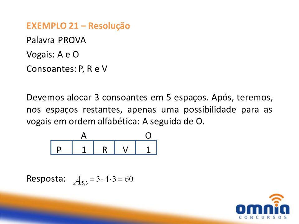 EXEMPLO 21 – Resolução Palavra PROVA Vogais: A e O Consoantes: P, R e V Devemos alocar 3 consoantes em 5 espaços. Após, teremos, nos espaços restantes
