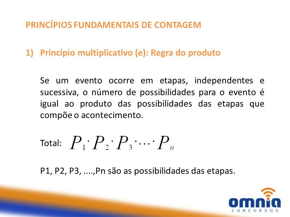 PRINCÍPIOS FUNDAMENTAIS DE CONTAGEM 1)Princípio multiplicativo (e): Regra do produto Se um evento ocorre em etapas, independentes e sucessiva, o númer