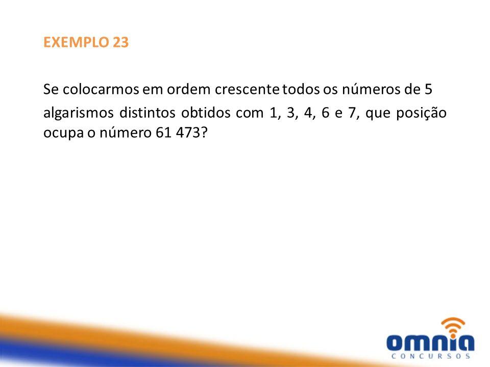 EXEMPLO 23 - Resolução algarismos distintos 1, 3, 4, 6 e 7 posição ocupada por 61.473 Começando com 1: Começando com 3: Começando com 4: Começando com 6: seguido de 1 3: 2.