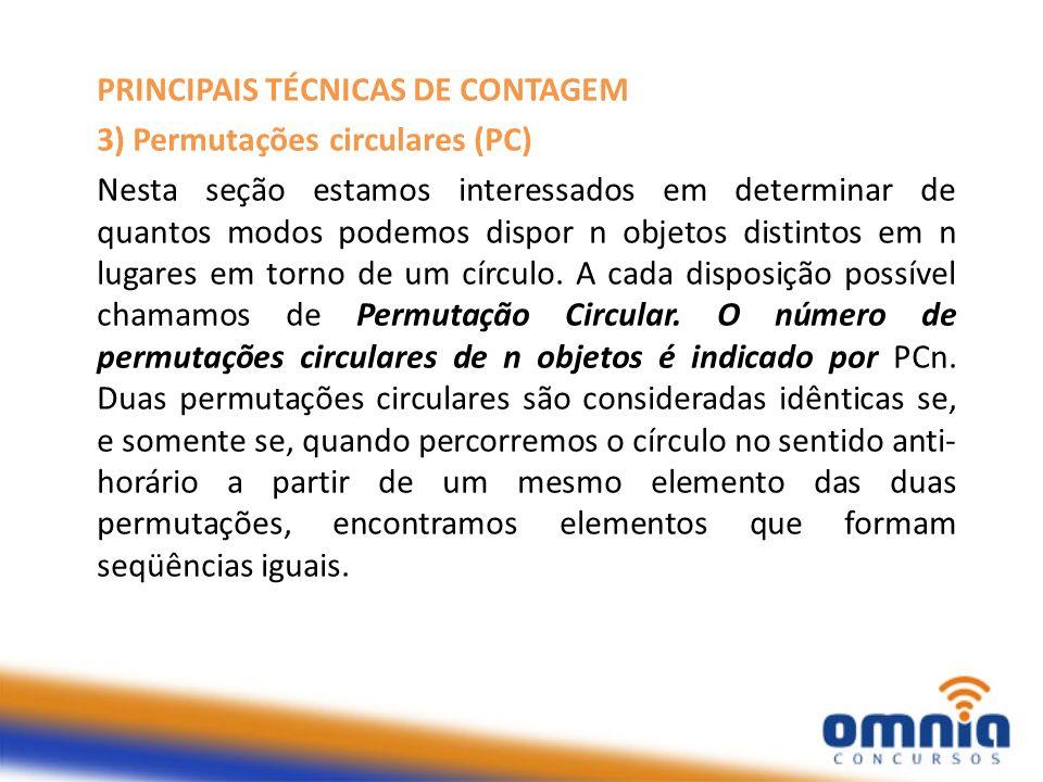 PRINCIPAIS TÉCNICAS DE CONTAGEM 3) Permutações circulares (PC) Nesta seção estamos interessados em determinar de quantos modos podemos dispor n objeto
