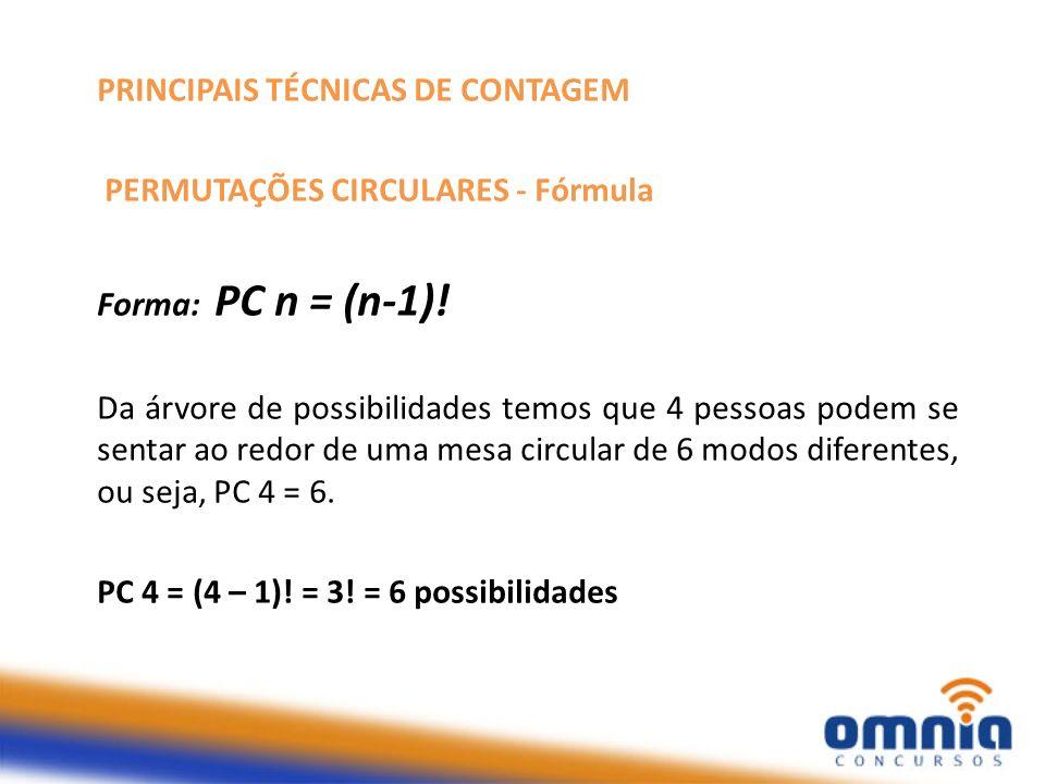 PRINCIPAIS TÉCNICAS DE CONTAGEM 3) PERMUTAÇÕES CIRCULARES Prova Como o que importa é a posição relativa dos objetos, há 1 modo de colocar o 1º objeto no círculo (onde quer que o coloquemos, ele será o único objeto no círculo); há 1 modo de colocar o 2º objeto (ele será o objeto imediatamente após o primeiro); há 2 modos de colocar o 3º objeto (imediatamente após o primeiro ou imediatamente após o segundo elemento); há 3 modos de colocar o 4º objeto ( imediatamente após o primeiro ou imediatamente após o segundo ou imediatamente após o terceiro) e assim sucessivamente; existem n-1 modos de colocarmos o n-ésimo elemento.