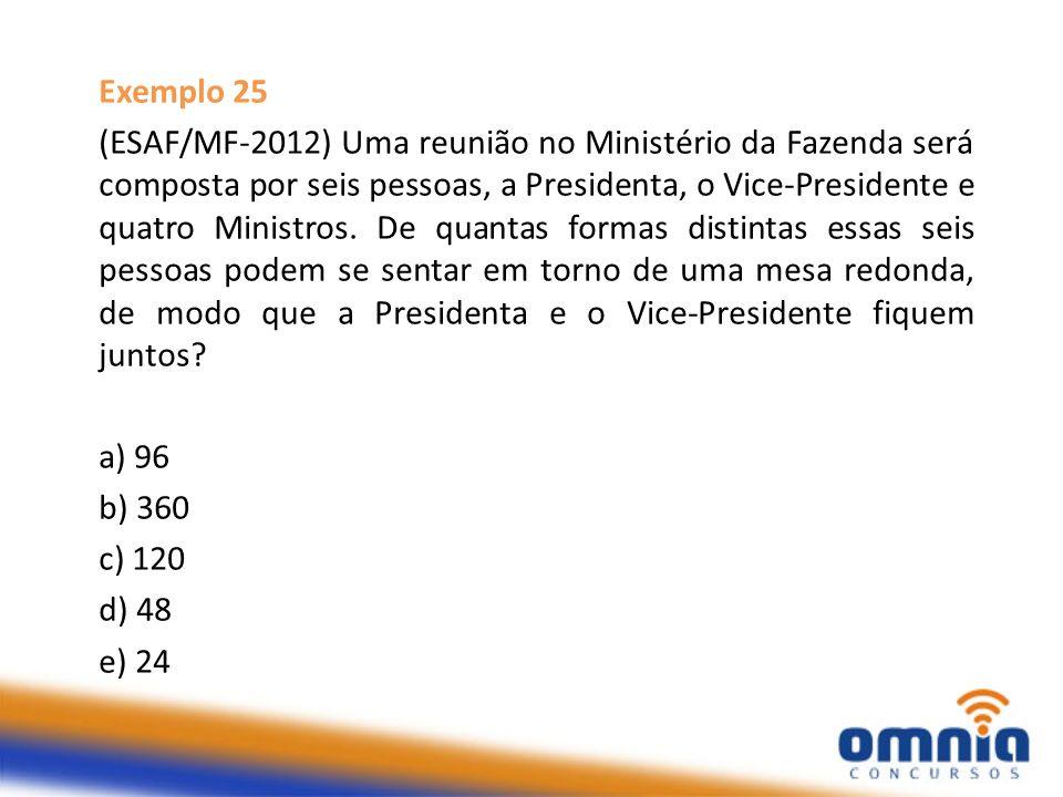 Exemplo 25 (ESAF/MF-2012) Uma reunião no Ministério da Fazenda será composta por seis pessoas, a Presidenta, o Vice-Presidente e quatro Ministros. De