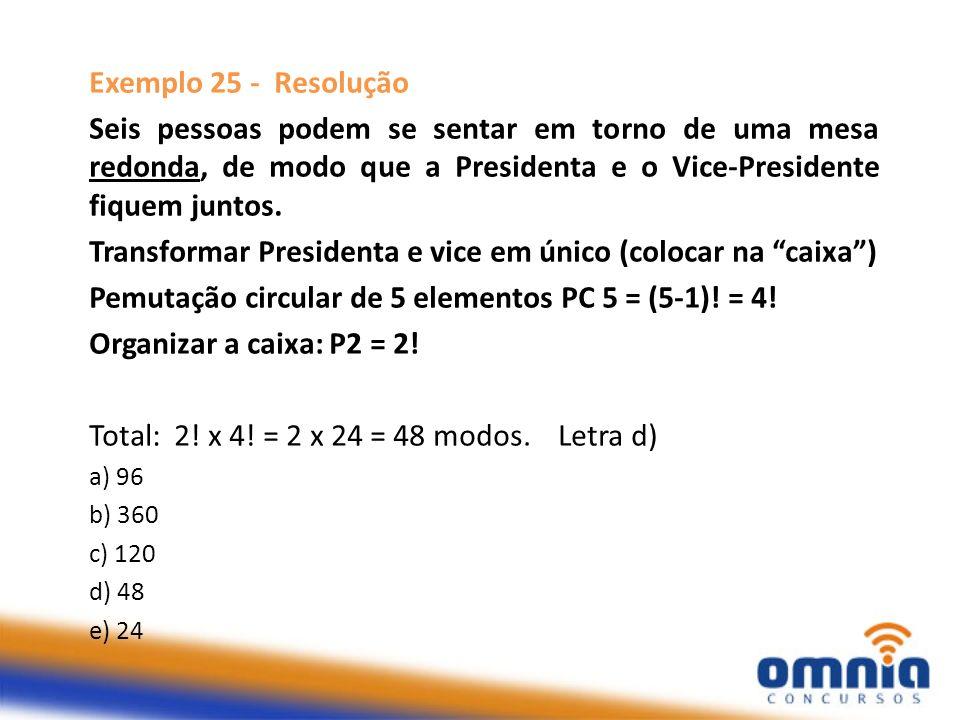 Exemplo 25 - Resolução Seis pessoas podem se sentar em torno de uma mesa redonda, de modo que a Presidenta e o Vice-Presidente fiquem juntos. Transfor