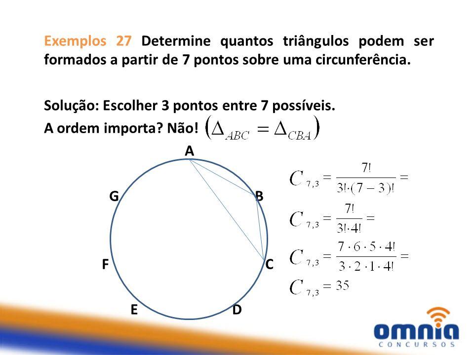 Exemplos 27 Determine quantos triângulos podem ser formados a partir de 7 pontos sobre uma circunferência. Solução: Escolher 3 pontos entre 7 possívei