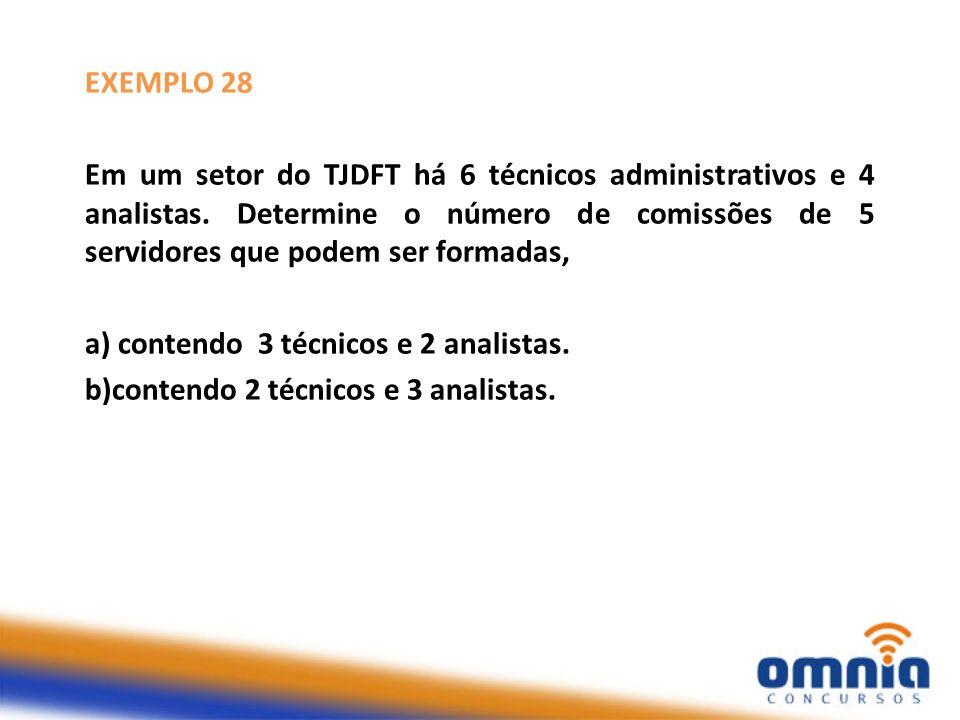 EXEMPLO 28 Em um setor do TJDFT há 6 técnicos administrativos e 4 analistas. Determine o número de comissões de 5 servidores que podem ser formadas, a