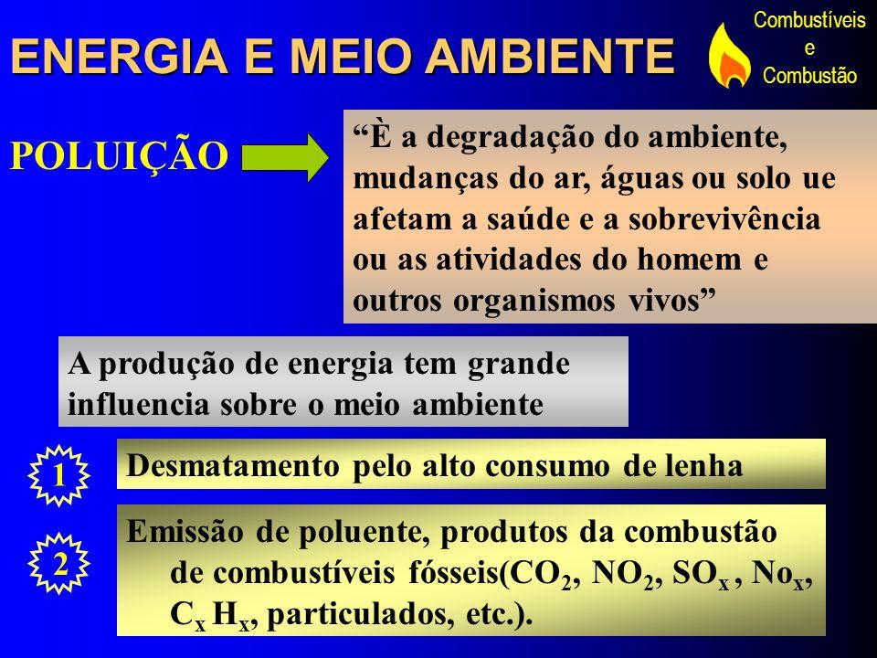 Combustíveis e Combustão ENERGIA E MEIO AMBIENTE POLUIÇÃO È a degradação do ambiente, mudanças do ar, águas ou solo ue afetam a saúde e a sobrevivênci
