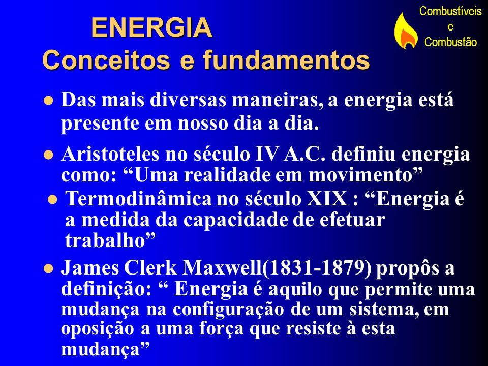 Combustíveis e Combustão FORMAS DE ENERGIA A energia inicialmente utilizada foi a dos ventos,da água e do Sol.