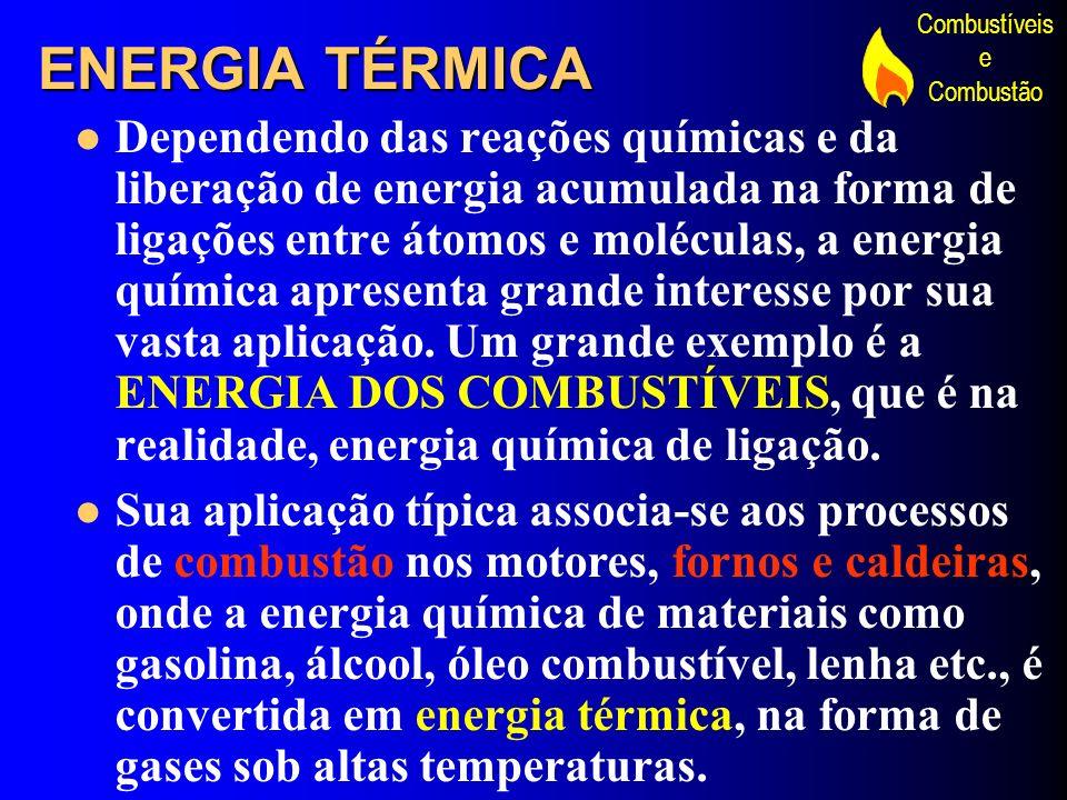 Combustíveis e Combustão ENERGIA TÉRMICA Dependendo das reações químicas e da liberação de energia acumulada na forma de ligações entre átomos e moléc