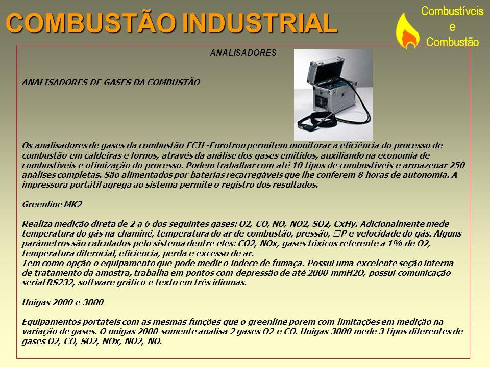 Combustíveis e Combustão COMBUSTÃO INDUSTRIAL ANALISADORES ANALISADORES DE GASES DA COMBUSTÃO Os analisadores de gases da combustão ECIL-Eurotron perm