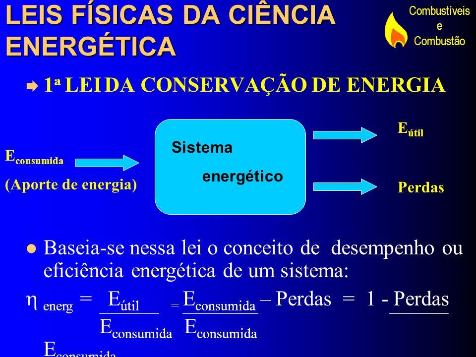 Combustíveis e Combustão LEIS FÍSICAS DA CIÊNCIA ENERGÉTICA 2 a LEI DA DISSIPAÇÃO DA ENERGIA - 2 a LEI DA TERMODINÂMICA Em todos os processos de conversão energética, sempre deve existir uma parcela de energia térmica como produto, ou seja existem inevitáveis perdas térmicas nos processos energéticos.
