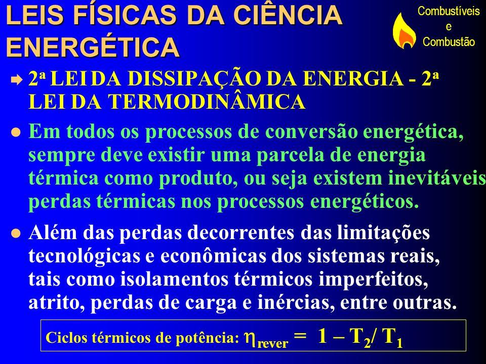 Combustíveis e Combustão LEIS FÍSICAS DA CIÊNCIA ENERGÉTICA 2 a LEI DA DISSIPAÇÃO DA ENERGIA - 2 a LEI DA TERMODINÂMICA Em todos os processos de conve