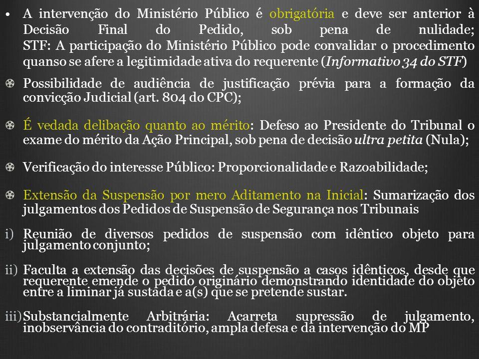 A intervenção do Ministério Público é obrigatória e deve ser anterior à Decisão Final do Pedido, sob pena de nulidade; STF: A participação do Ministér