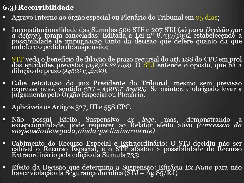 6.3) Recorribilidade Agravo Interno ao órgão especial ou Plenário do Tribunal em 05 dias; Inconstitucionalidade das Súmulas 506 STF e 207 STJ (só para