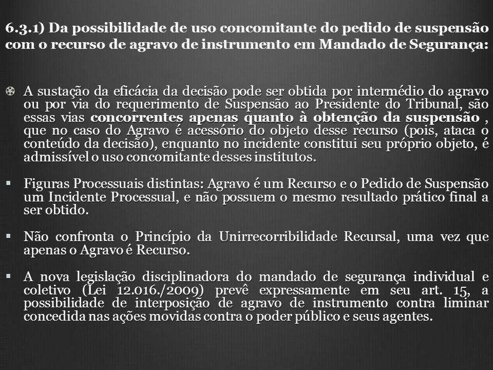 6.3.1) Da possibilidade de uso concomitante do pedido de suspensão com o recurso de agravo de instrumento em Mandado de Segurança: A sustação da eficá