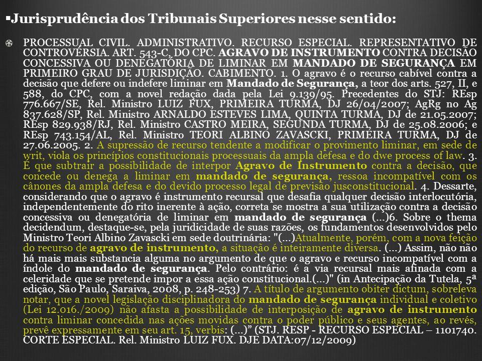 Jurisprudência dos Tribunais Superiores nesse sentido: PROCESSUAL CIVIL. ADMINISTRATIVO. RECURSO ESPECIAL. REPRESENTATIVO DE CONTROVÉRSIA. ART. 543-C,