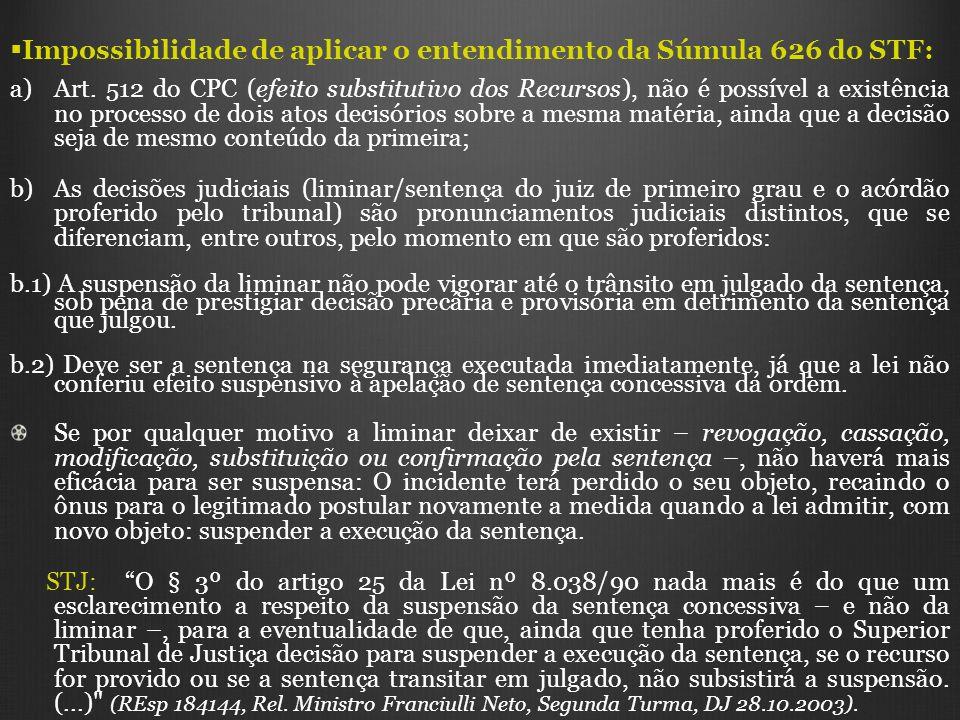 Impossibilidade de aplicar o entendimento da Súmula 626 do STF: a) a)Art. 512 do CPC (efeito substitutivo dos Recursos), não é possível a existência n