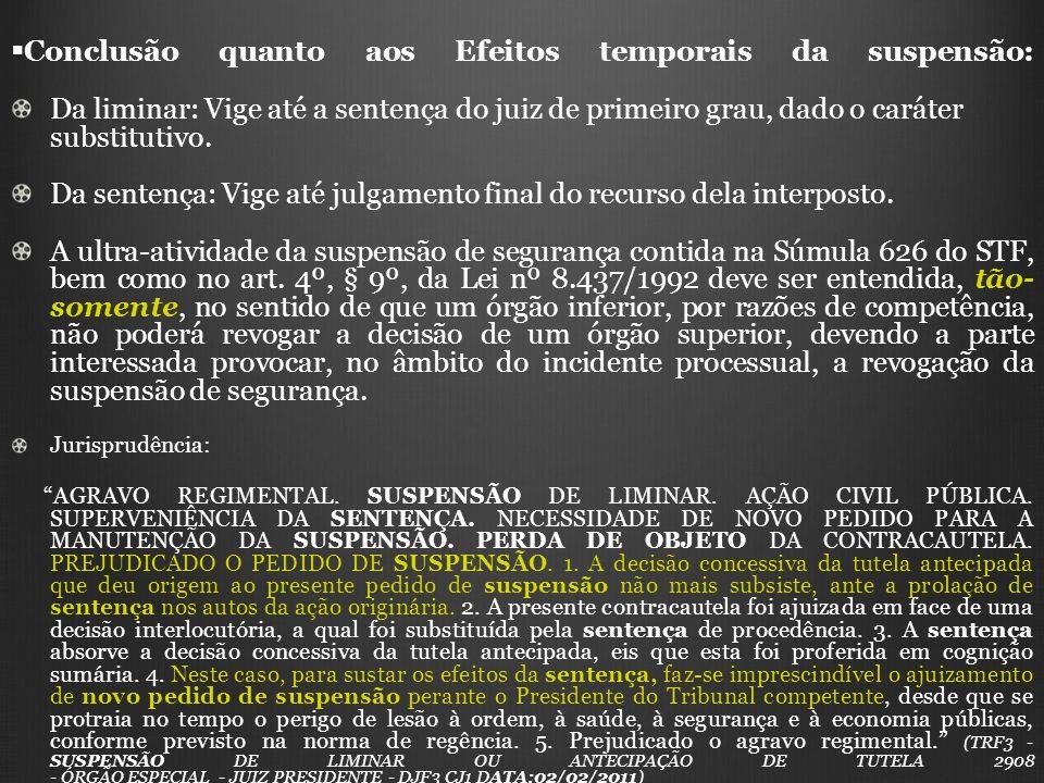 Conclusão quanto aos Efeitos temporais da suspensão: Da liminar: Vige até a sentença do juiz de primeiro grau, dado o caráter substitutivo. Da sentenç