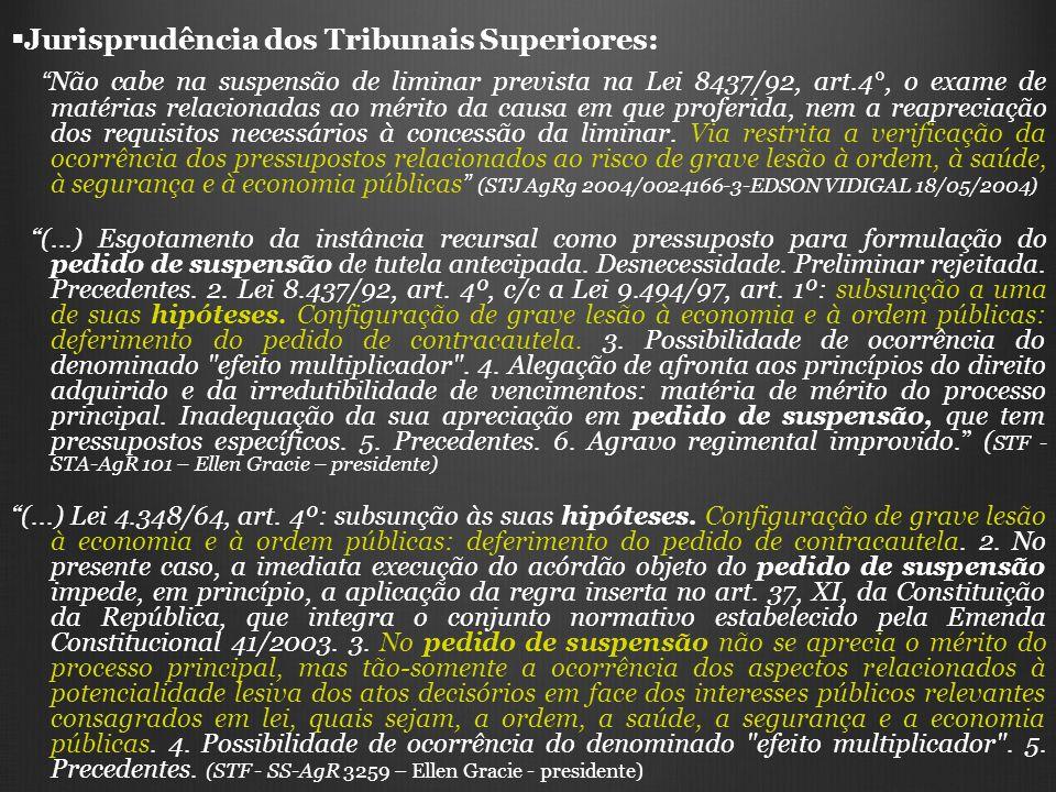 Jurisprudência dos Tribunais Superiores: Não cabe na suspensão de liminar prevista na Lei 8437/92, art.4°, o exame de matérias relacionadas ao mérito