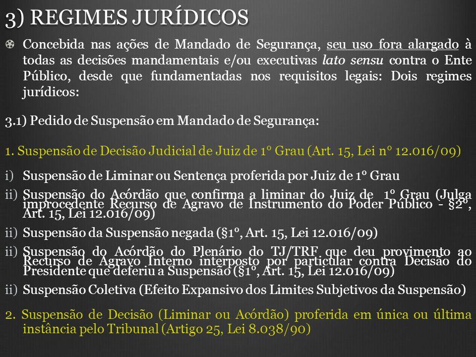 3) REGIMES JURÍDICOS Concebida nas ações de Mandado de Segurança, seu uso fora alargado à todas as decisões mandamentais e/ou executivas lato sensu co
